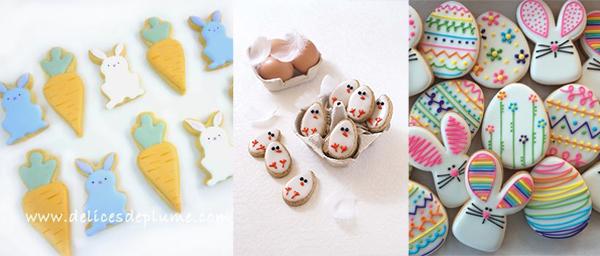 sablés aux motifs de Pâques : lapins, oeufs, poussins...