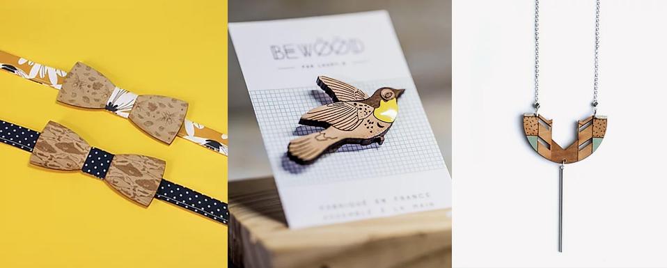 bijoux et noeuds papillon en bois bewood