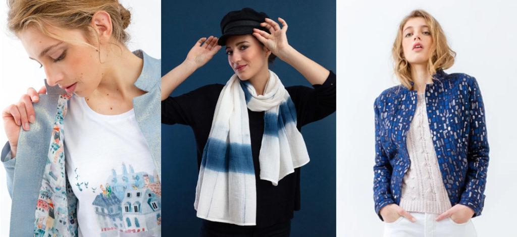 foulard, veste et t.shirt Bleu tango marque de mode éthique